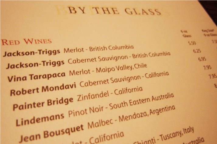 carta dei vini ristorante